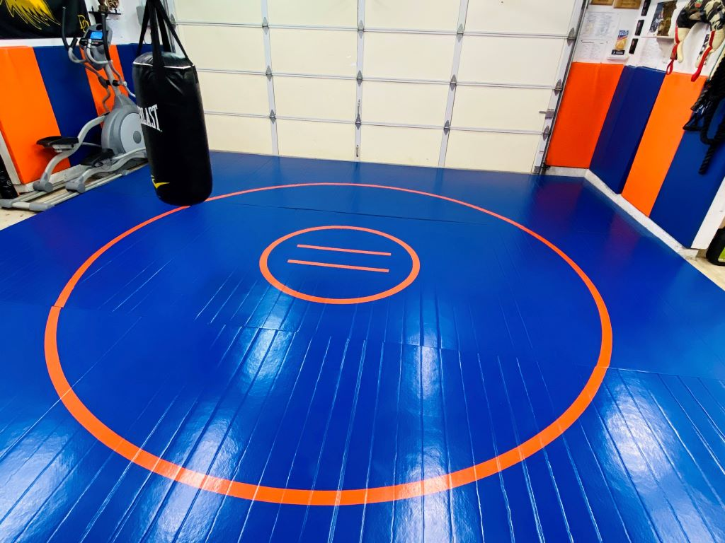 Garage Gym Wrestling Mat Blue and Orange