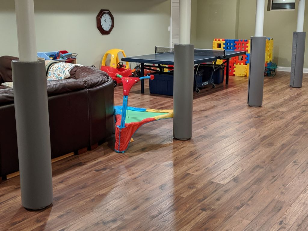 home basement playroom protective pole safety covers