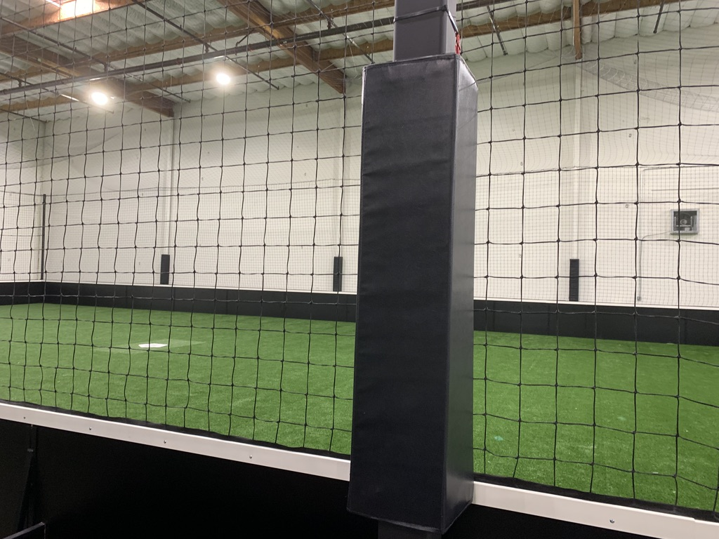 indoor baseball facility  protective padding