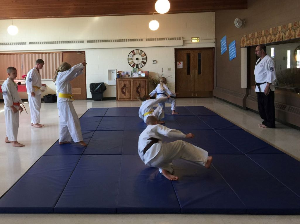 Martial Arts Class Mats Black and Blue