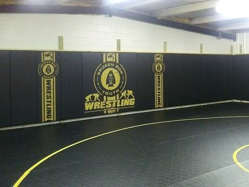 Custom digitally printed club wrestling black wall pads
