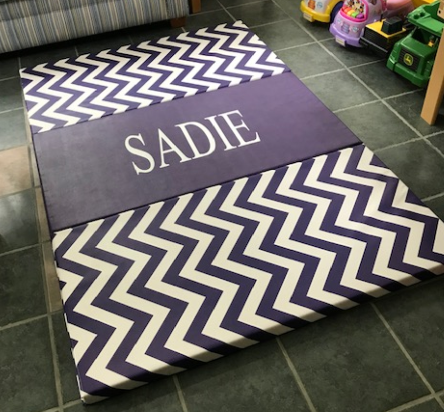 Purple Home Gymnastics Mat monogram, name gymnastics mat purple, cute folding mats