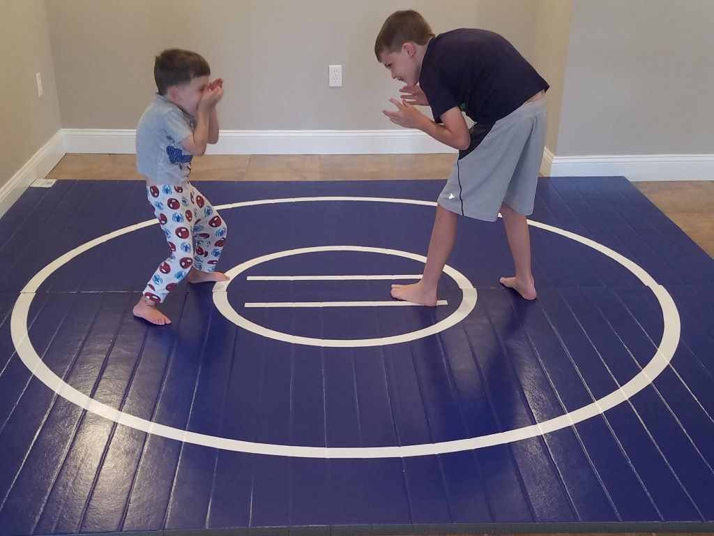 Blue home wrestling mat fr youth practice