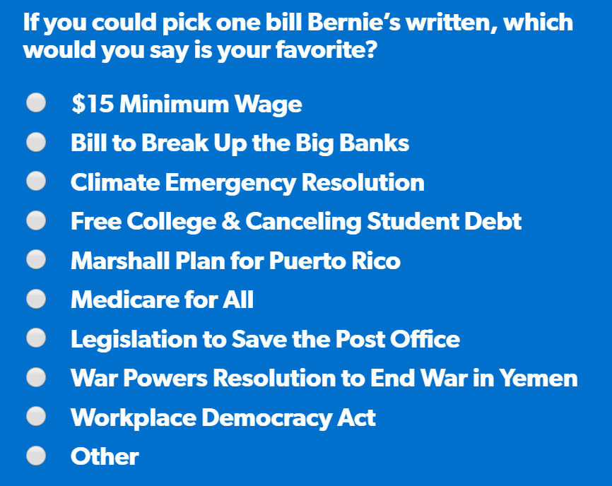 $15 Minimum Wage, Bill to Break Up the Big Banks, Climate Emergency Resolution, Free College & Canceling Student Debt, Marshall Plan for Puerto Rico, Medicare for All, Legislation to Save the Post Office, War Powers Resolution to End War in Yemen, Workplace Democracy Act, Other