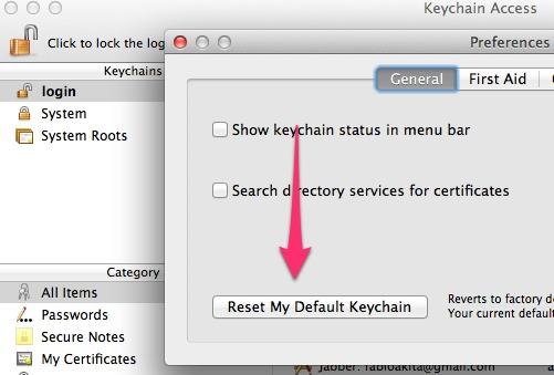 Reiniciando meu login Keychain