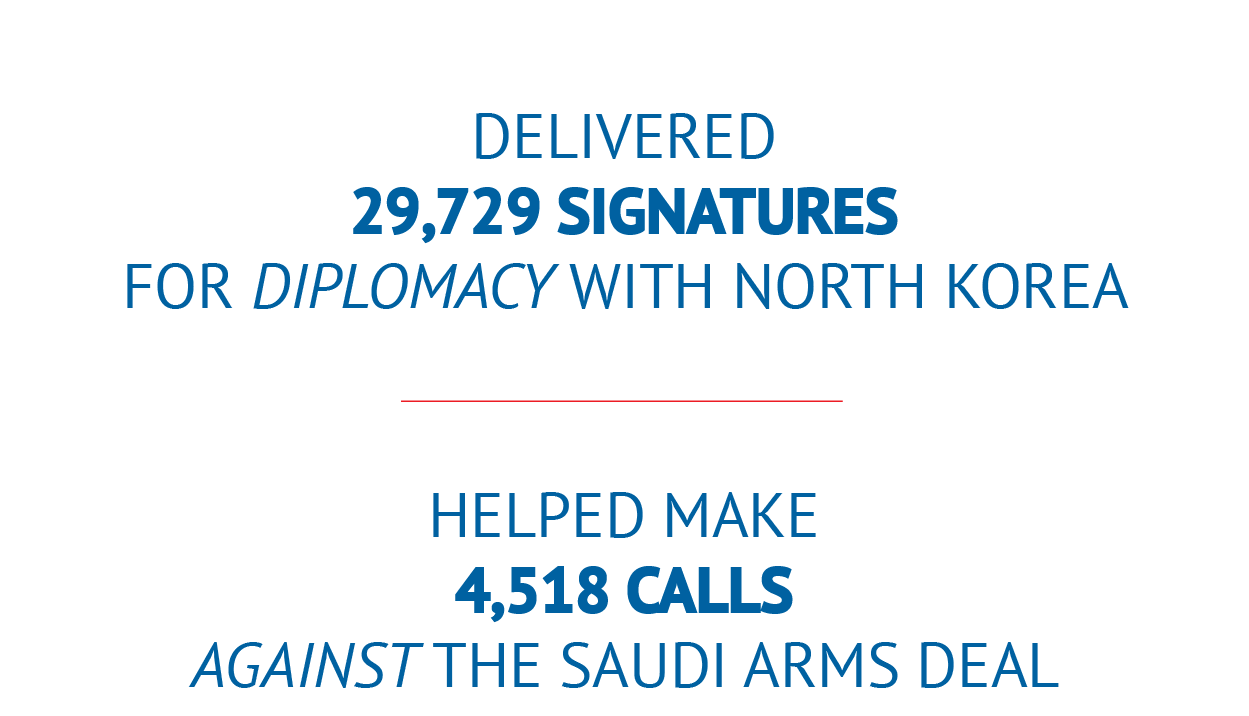 We've already taken thousands of actions to promote a progressive foreign policy