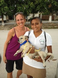 Michaela & pet-owner Fatima with a sleepy Kimber recovering from surgery