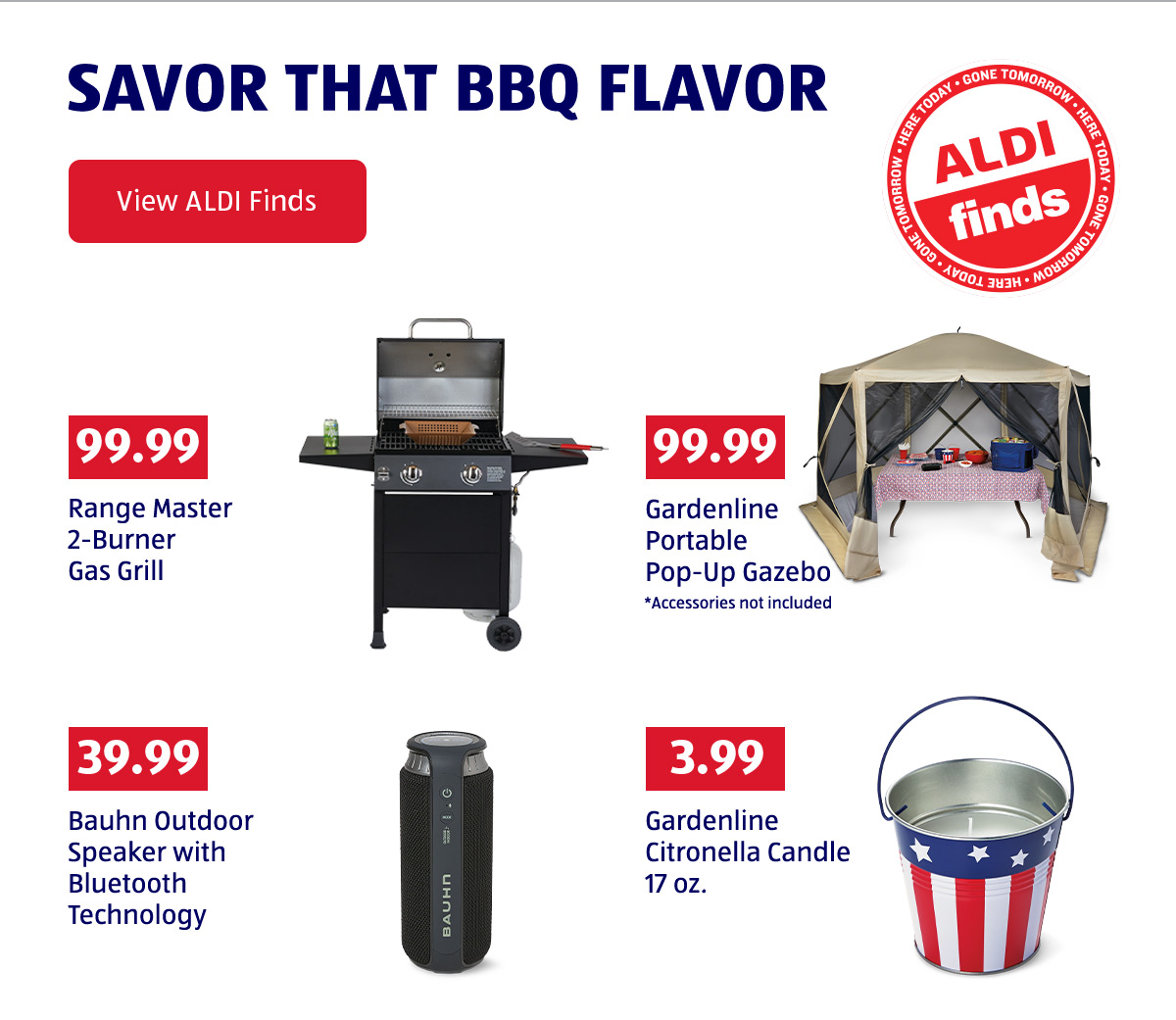 Savor That BBQ Flavor. ALDI Finds. View ALDI Finds.