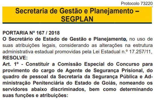 Portaria da Secretaria de Gestão e Planejamento - Concurso Agente Penitenciário Goiás