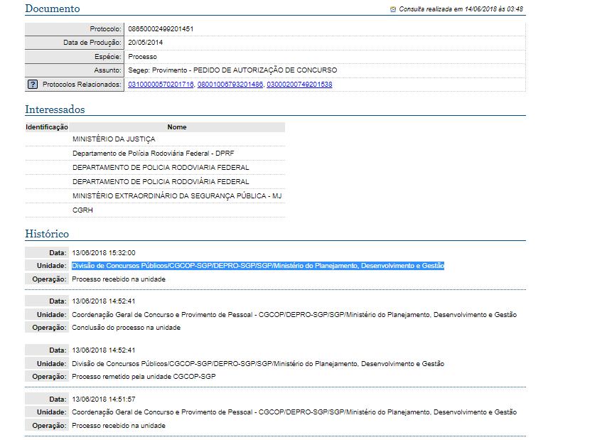 6) Protocolo concurso PRF - Mostrando informações do documento, dados do interessado e histórico
