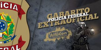 Logotipo PF com o escrito: Gabarito Extraoficial Polícia Federal 2018