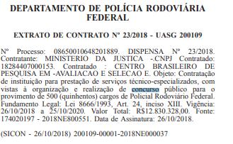Extrato de contrato do departamento de polícia rodoviária federal - concurso PRF