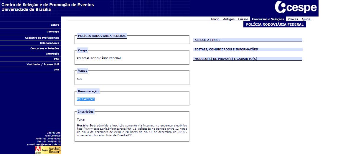 Página do site do concurso PRF, com informações da vaga, remuneração e informações adicionais
