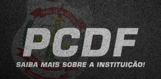Imagem com o escrito: PCDF, saiba mais sobre a instituição