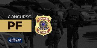 Símbolo da Polícia Federal, com a frase: Concurso PF