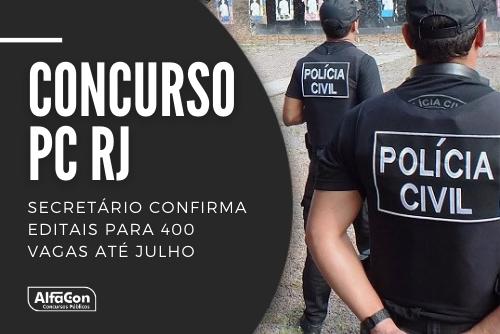 Novo concurso PC RJ (Polícia Civil do Rio de Janeiro) terá 400 vagas para preenchimento imediato. Opções de níveis fundamental, médio e superior e iniciais até R$ 18,1 mil