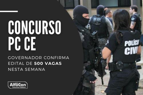 Novo concurso PC CE (Polícia Civil do Ceará) contará com oportunidades para os cargos de escrivão e inspetor. Nível superior, até R$ 3,8 mil