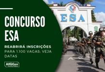 Concurso da Escola de Sargentos das Armas (ESA) cobra ensino médio e oferece 1.100 vagas distribuídas entre três áreas: geral, saúde e música. Leia mais!