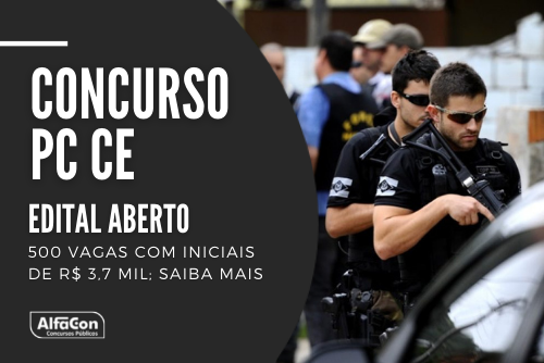 Novo concurso PC CE (Polícia Civil do Ceará) conta com oportunidades para os cargos de escrivão e inspetor. Nível superior, até R$ 3,7 mil. Leia mais!