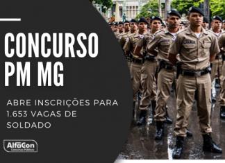 Concurso PM MG abre inscrições para 1.653 vagas de soldado