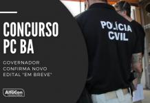 O novo concurso PC BA (Polícia Civil do Estado da Bahia) contará com 100 vagas para delegado, 100 para escrivão e 800 para agente, que requerem nível superior