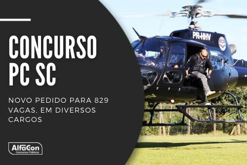 Novo concurso PC SC (Polícia Civil de Santa Catarina) foi solicitado, para cargos de delegado, escrivão, agente e psicólogo