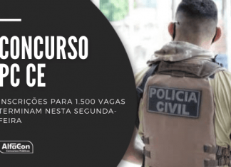Edital disponibiliza 1.200 postos para inspetor e 300 para escrivão. As duas carreiras em disputa no concurso da PC CE (Polícia Civil do Ceará) cobram curso superior em qualquer área