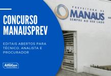 Inscrições para o concurso da Manausprev (Manaus Previdência) começam na próxima segunda-feira (27). Estão em disputa vagas de níveis médio e superior de ensino, com salários de até R$ 12,4 mil