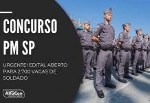 Concurso PM SP (Polícia Militar do Estado de São Paulo) será para quem possui ensino médio, com inicial de R$ 3,3 mil. Inscrições começam dia 25