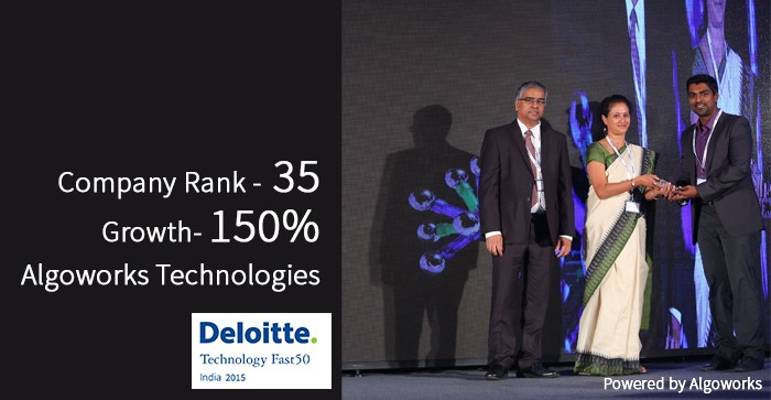 Algoworks Technologies Ranked Number 35th Fastest Growing Technology Company on the Deloitte Technology Fast50 India 2015
