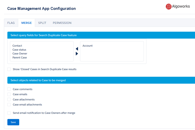 Case management app configuration