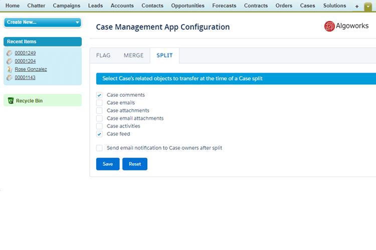 Congiguration of Salesforce Case Management App
