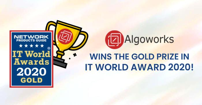 Gold Winner in the Category 'Company of the Year – IT Services' | Algoworks Wins the IT World Award 2020