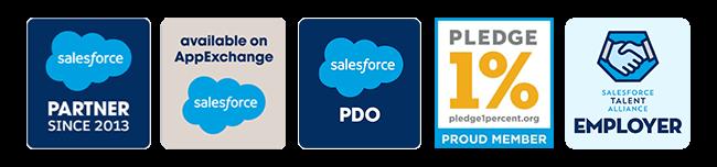 Salesforce Gold Consulting Partner, Salesforce AppExchange Partner, Salesforce Talent Alliance Member & Pledge 1% Member