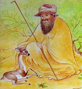 painting of man with a deer