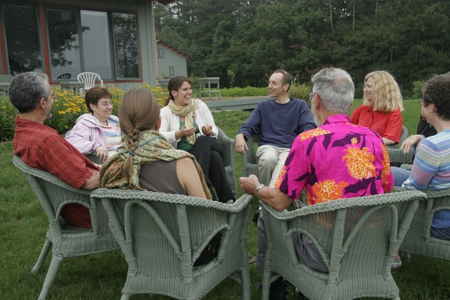 circle of people outdoors at light on the hill retreat ceter