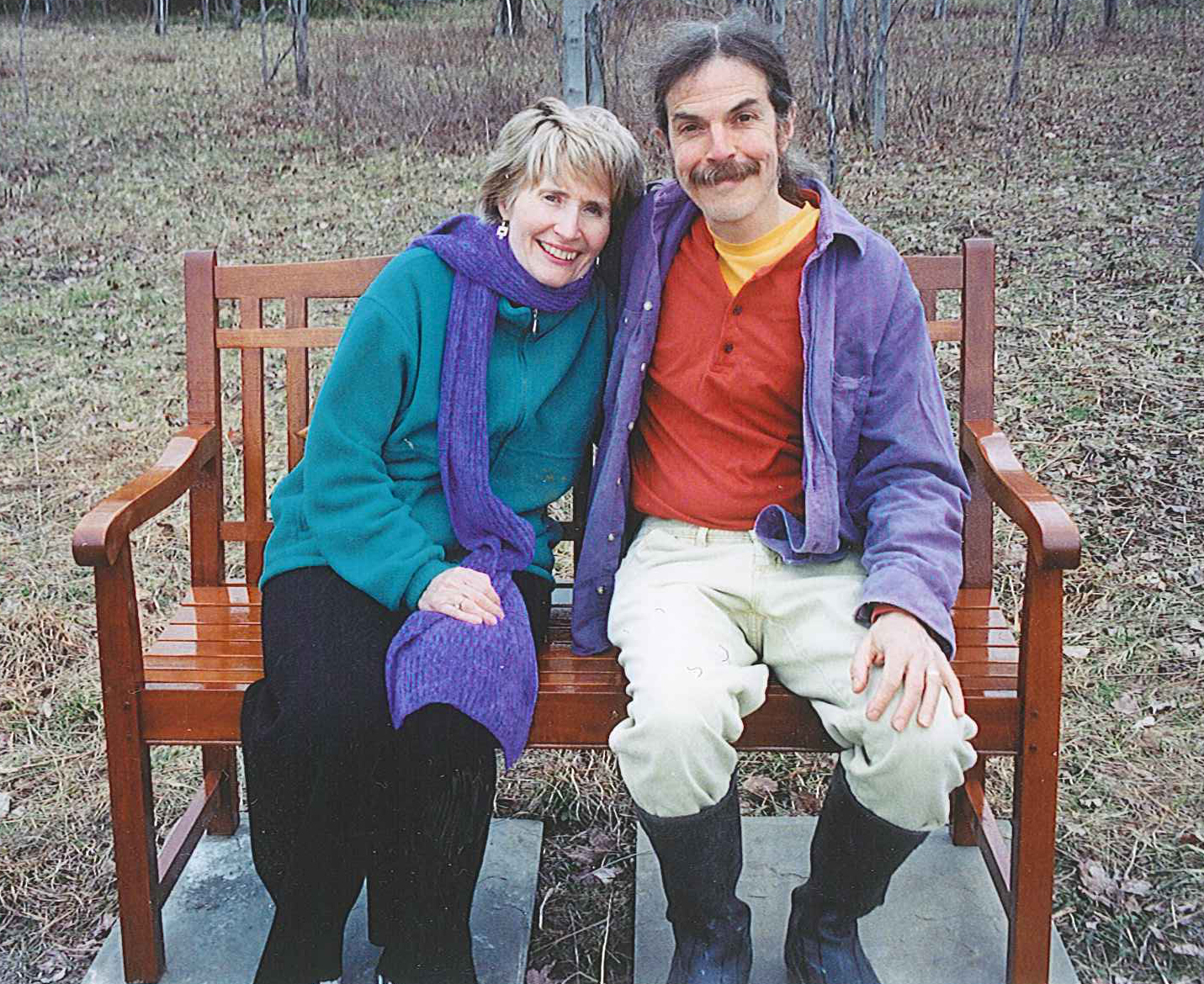 alice and larry mcdowell on bench