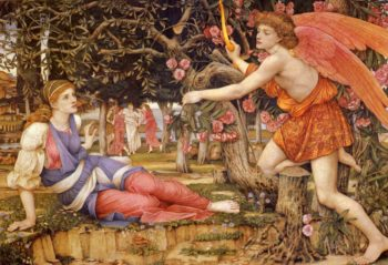 Love And The Maiden | John Roddam Spencer Stanhope | Oil Painting