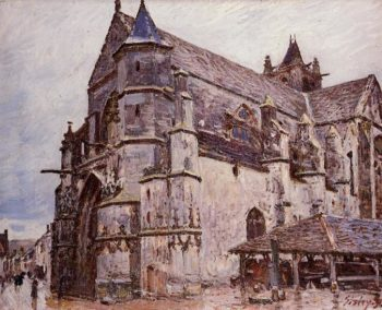 The Church at Moret Rainy Morning  1893 1 | Alfred Sisley | Oil Painting