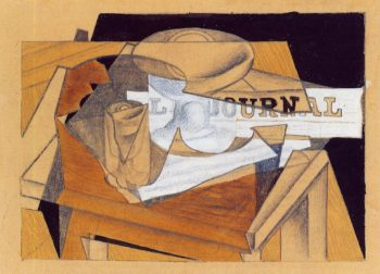 Bowl Glass and Newspaper 1916 | Juan Gris | Oil Painting