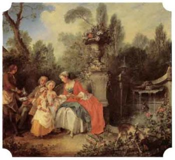 Lady and Gentleman with two Girls and a Servant 1742 | Nicolas Lancret | Oil Painting