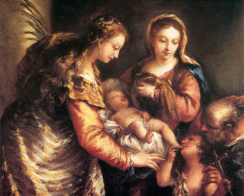 Holy Family with St John the Baptist and St Catherine 1750 | Giovanni Antonio Guardi | Oil Painting