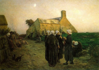 Evening in the Hamlet of Finistere | Jules Breton | Oil Painting