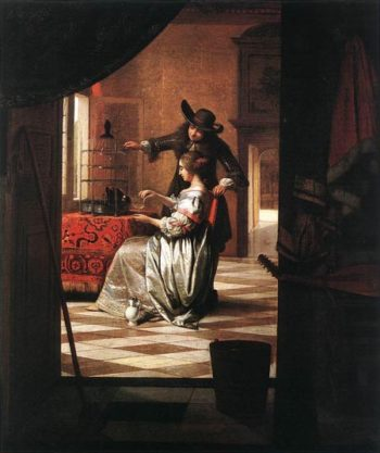 Couple with Parrot 1668 | Pieter de Hooch | Oil Painting