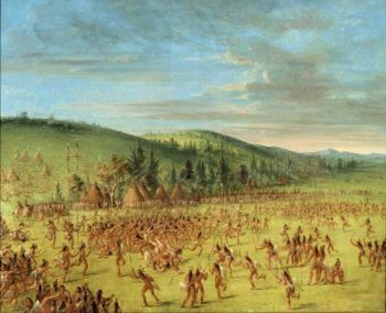 Ball play of the Choctaw Ball up 1846 1850 | George Catlin | Oil Painting