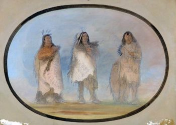 Little Bear Steep Wind The Dog Three Distinguished Warriors of the Sioux Tribe about 1865 1871 | George Catlin | Oil Painting