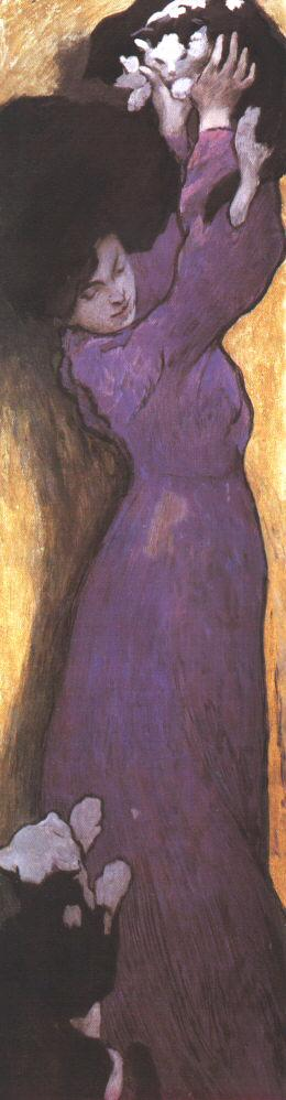 Woman in Lilac Dress with Cat 1900 | Janos Vaszary | Oil Painting