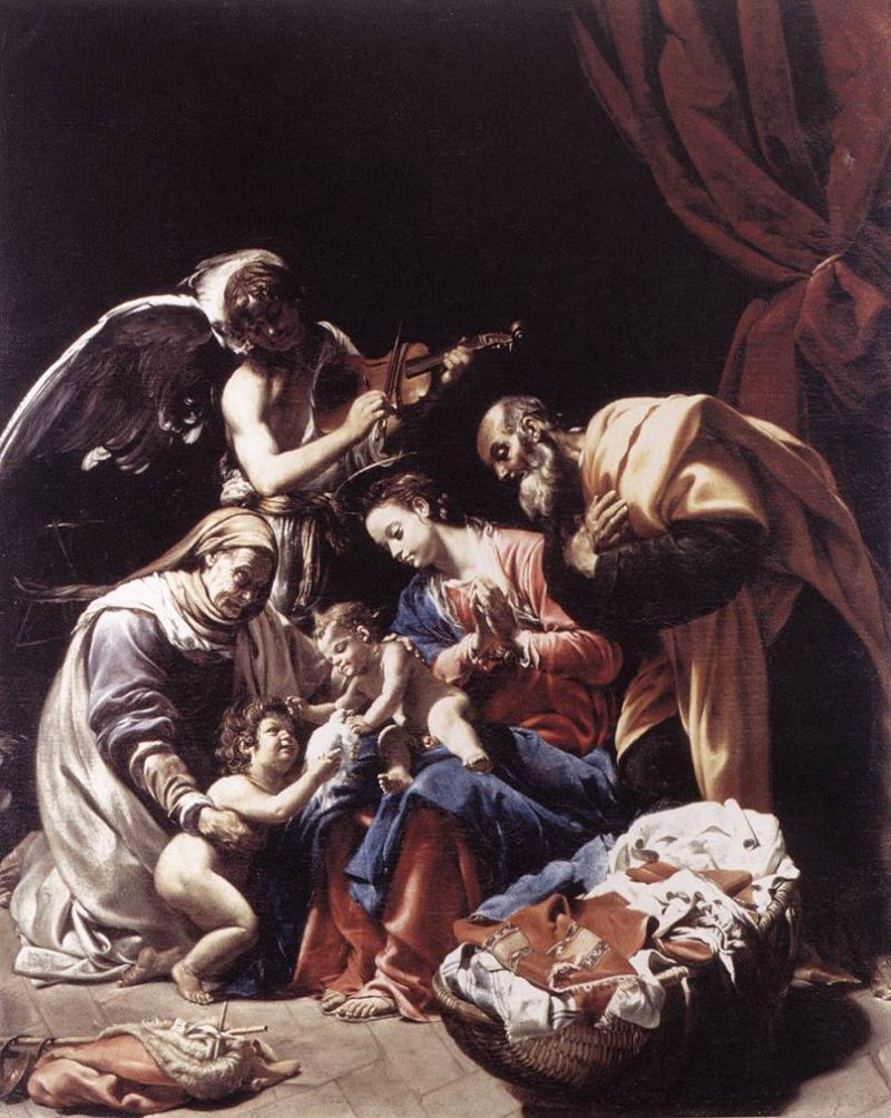 Holy Family With St Elizabeth The Young St John The Baptist And An Angel 1609 | Ambrogio Borgognone | Oil Painting