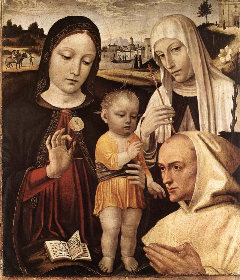 Madonna And Child St Catherine And The Blessed Stefano Maconi 1490 | Ambrogio Borgognone | Oil Painting