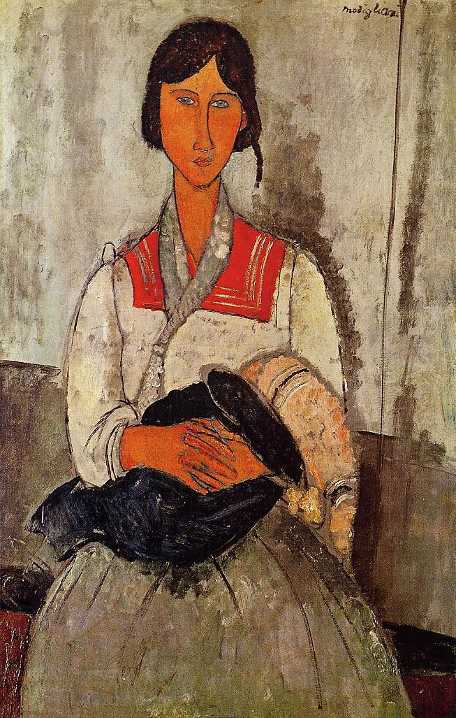 Gypsy Woman with Baby 1918 | Amedeo Modigliani | Oil Painting